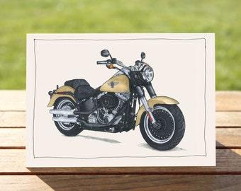 "Motorcycle Gift Card | Sandy Fat Boy | A6 - 6"" x 4"" / 103mm x 147mm | Motorbike Gift Card"