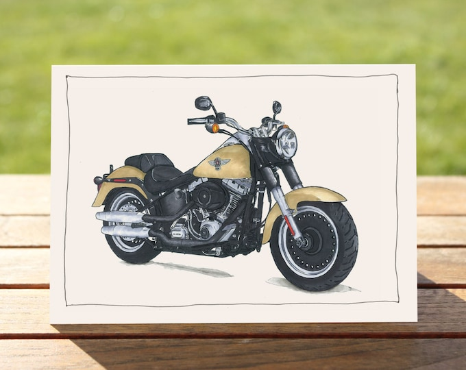 "Motorcycle Gift Card | Harley Davidson Fat Boy | A6 - 6"" x 4"" / 103mm x 147mm 