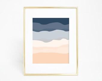 Art Prints Abstract, Abstract Poster, Navy Blue Art Print, Peach Wall Art, Boys Nursery Art, Nursery Wall Poster Office Wall Art Digital Art