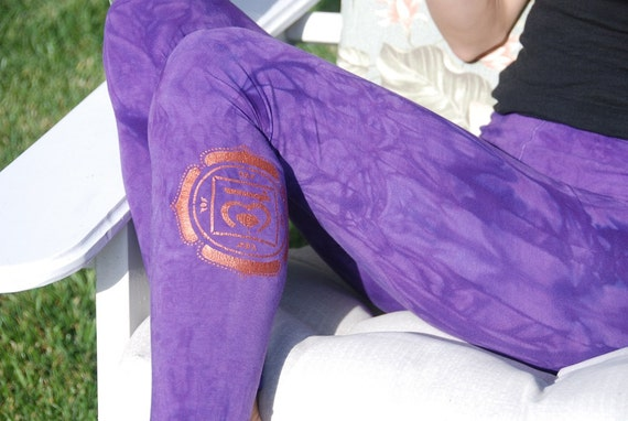 Purple Yoga Leggings Hand Dyed from The ArtiZan Collection with Optional Hand Painted Design by Splash Dye Activewear