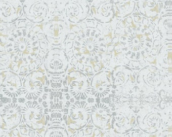 Morning Serenade by Grace Pullen for South Sea Imports  -- Very Light Blue Grey with Dark Yellow Accents-- 100 % Cotton -- 1- 1/3 Yard Piece