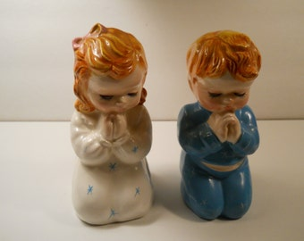 Vintage Praying Girl & Boy Figurines, Made in Japan, Children's Decor