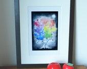 Chasing rainbows in the dark, print of my original painting.