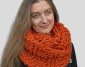 Chunky scarf Knit orange scarf Circle scarf Infinite loop scarf Tube knit scarf Mens scarf Cowl scarf crochet Christmas present