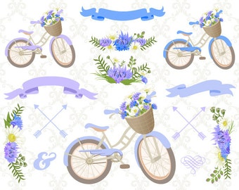 Instant Download Bicycle Clipart, Blue Wedding Floral Clip Art, Blue Purple Floral Bicycle, Blue Floral Bike, Blue Purple Flower Purple 0125