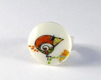 Porcelain Ring,Ceramic Ring,Porcelain Jewelry,Bague en Porcelaine,Bijou en Porcelaine,Oiseau Sunny et Anneau Argent