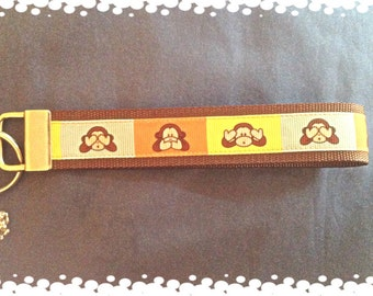 1 Inch Wide Colorful Monkey Grosgrain Pattern Key Fob with Charm
