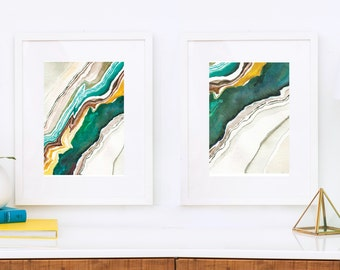 Diptych of Agate I and II, Abstract Watercolor, Pair of prints