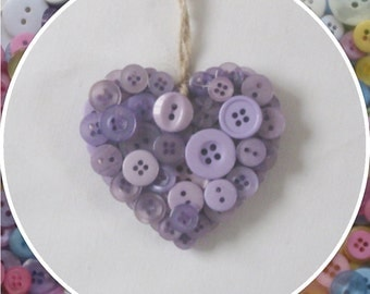 Handmade Lilac Button Hanging Hearts