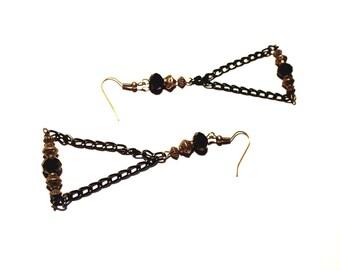 Earrings retro bronze, black string