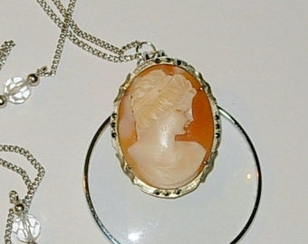 Upcycled Cameo Necklace with Magnifier