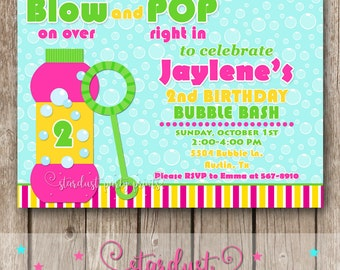 Bubbles Birthday Invitation, Bubbles Invitation, Digital Invitation, Printable Invitation