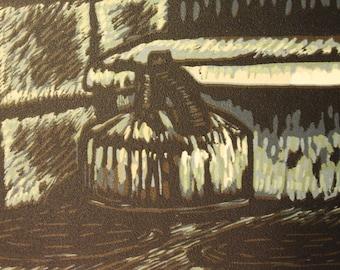 "Teakettle (6"" x 6"" original hand-pulled linocut print)"