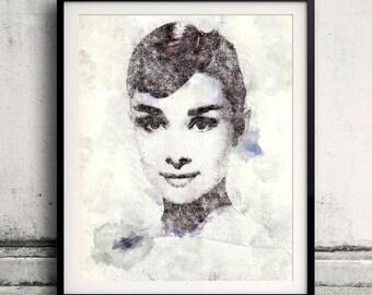 Audrey Hepburn portrait 02 in pen & watercolor - Fine Art Print Glicee Poster Gift Illustration Artist Poster - SKU 1942