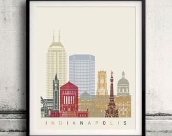 Indianapolis skyline poster - Fine Art Print Landmarks skyline Poster Gift Illustration Artistic Colorful Landmarks - SKU 2100