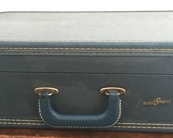 Vintage Travel-Smart Blue Hard Shell Suitcase