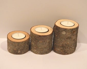 Wooden candle holder set of 3, rustic wedding decor, wood tea light candleholder, tree branch candle holders