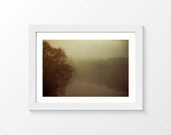 "A river? / Water reflection trees mist brun photo printable art wall art home decor downloadable art to print yourself / A3 and 11"" x 17"""