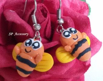 Bee Bug Earrings, clay dangle earrings, animal clay