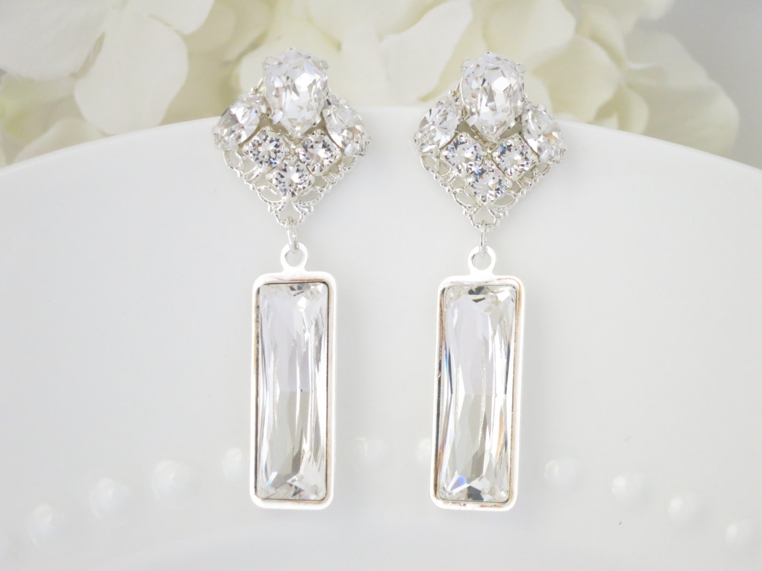 Swarovski crystal post earring, Rhinestone chandelier wedding earring, Statement bridal earring