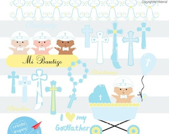 My Christening Day Baby Boy Clipart, Cutting SVG, PNG Image, Kids Baptism Digital, Baby Religious Scrapbook, Blue Easter Cross Rosary  C024