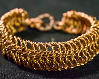 Twisted Copper Link European 6 in 1 Chainmaille Bracelet. Rigid like a Cuff
