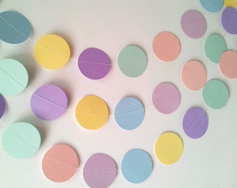 SOMEWHERE OVER THE Pastel Rainbow Paper Circle Garland - Nursery, Party, Shower, Children's Room decoration.