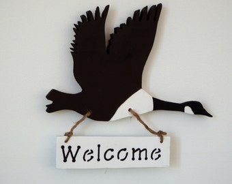 Welcome sign - welcome sign cabin decor - rustic welcome sign - wood canada goose - lodge wall decor welcome - country wall decor