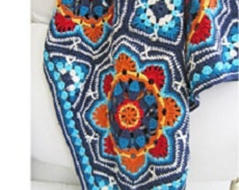 Crochet pattern blanket with persian tiles patterns by Jane Crowfoot 12 page full colour printed brochure