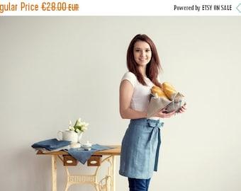 SALE 15% OFF Half Apron - 100 Percent Linen Cafe APRON - Chef Apron - Dusty blue apron