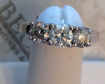 "Vintage 14k white gold 3 Round Brilliant Cut Diamond Engagement Ring 1.35 tw J-I1-2, size 6.25 ""3 Stone Style"""
