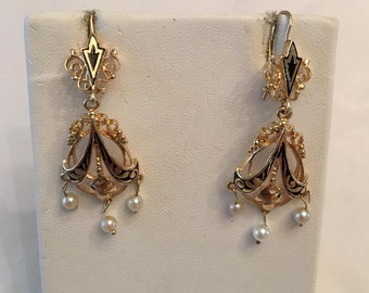 Pair of Antique Retro 14k yellow gold Black Enamel & Akoya Cultured Pearl Drop Dangle Earrings with fixed wires