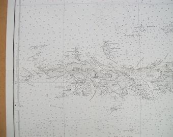 1980 Nautical Chart of The Virgin Islands - St. Thomas, St. John, Tortola, Virgin Gorda