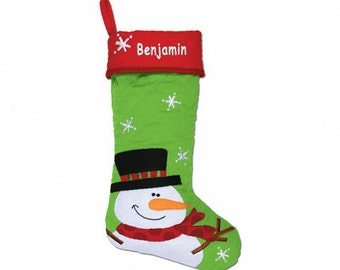 Personalized Snowman Quilted Christmas Stocking