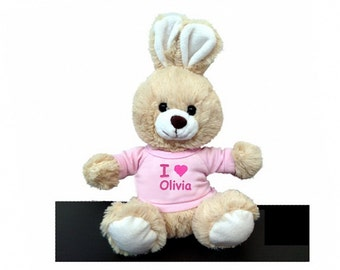 Personalized I Love Easter Bunny - Tan with Pink Shirt, 10 Inch