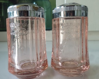 VINTAGE Indiana Recollection PINK Glass Set of Salt Pepper SHAKERS
