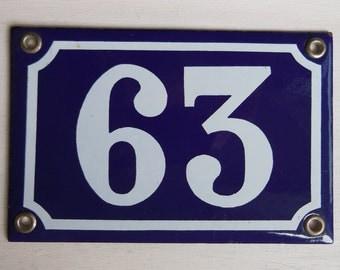 Vintage French enamel HOUSE NUMBER SIGN 63