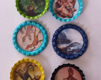 10 Dinosaur themed bottle cap magnets or cupcake toppers pins buttons hair bows