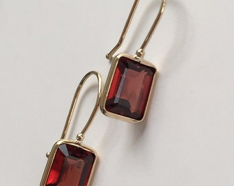 14k solid yellow gold and octagon garnet earrings, January birthstone, everyday earrings