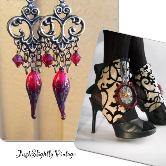 Chardonnay...Artisan Glamour, Lampwork Daggers, Pods, Iridescent Red, Colbalt, Classic Elegance, Chandelier, JustSlightlyVinyage