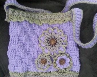 Crochet handbag messenger style Crochet Handbag Purple Handbag Handbag With Flower
