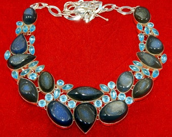 Gorgeous Druzy & Blue Topaz Gemstone 925 Silver Necklace Weight 150 Grams Free Shipping