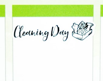 42 Cleaning Day Stickers  | Planner Stickers designed for use with the Erin Condren Life Planner | 0714