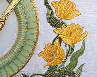 Machine Embroidery Design Yellow tulips