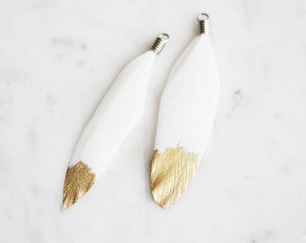 T9-107-WH-G] White Duck Feather / Gold Dipped / 70mm / Ready Made Feather / 4 piece(s)