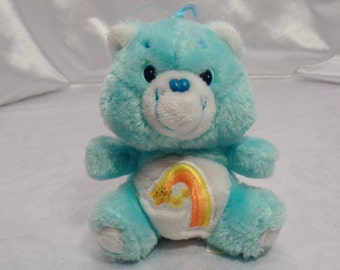 """Original Care Bears Mini Stuffed Plush by Kenner- American Greetings-Those Characters from Cleveland-1983-6"""" Wish Bear!"""
