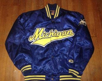 Vintage 90s University of Michigan Satin Baseball Jacket Coat size Medium