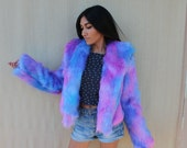 Purple tie dye faux fur coat with unicorn lining inside pocket secret pocket