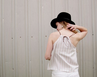 Summer Tank Leather Straps Striped Top Pocket Tank Eco Friendly Tank Sustainable Conscious Clothing Pocket top Eco conscious Locally made