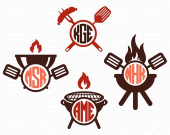 Barbecue Circle Monogram Frames (SVG, Eps, Dxf Studio3) BBQ Grill Cut Files for Silhouette Studio, Cricut Design Space, Cutting Machines